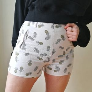 High-Waisted White Mini Shorts with Pineapples